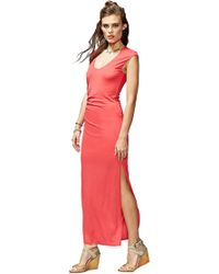 Heather by Bordeaux - Shirred Maxi Dress With Slit In Cherry - Lyst