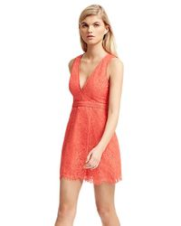 StyleStalker - Aria Lace Circle Dress In Dark Coral - Lyst