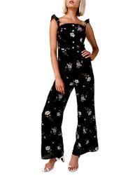 Line & Dot - Darcey Wide Leg Jumpsuit In Black Multi - Lyst