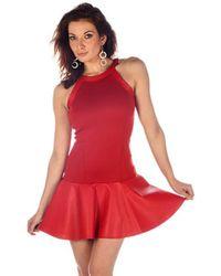 Boulee - Yasmine Vegan Leather & Techno Stretch Mini Dress - Lyst