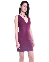 Sheri Bodell | Deep V Crystal Mini Dress In Purple | Lyst