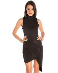 Sheri Bodell - Studded High Neck Dress In Black - Lyst