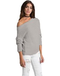 Sen Collection | Jill Off Shoulder Sweater In Grey | Lyst