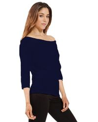 Three Dots - Off The Shoulder Top In Night Iris - Lyst