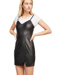Free People - Say No More Faux Leather Slip Dress In Black - Lyst
