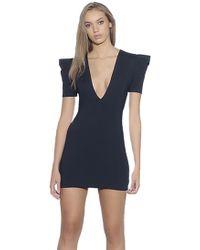 Susana Monaco - Pleated Sleeve Deep V Mini Dress In Black - Lyst