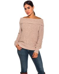 6e53e62507 525 America - Off The Shoulder Shaker Sweater In Pink Champagne - Lyst