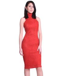 Sheri Bodell - Perforated Sleeveless Turtleneck Dress In Red - Lyst