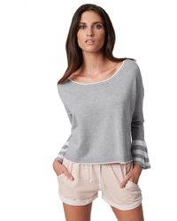 525 America - Ruffle Cuff Top In Heather Grey & White - Lyst