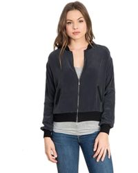 Feel The Piece - By Terre Jacobs Baxter Silk Bomber Jacket In Ash - Lyst