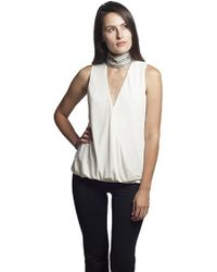 Sheri Bodell - Wrap Front Top With Crystal High Neck - Lyst