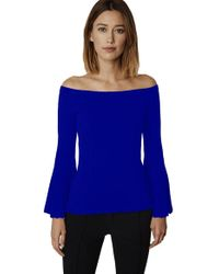 525 America - Off The Shoulder Bell Sleeve Sweater In Indigo - Lyst