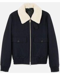 AMI - Shearling Collar Zipped Jacket - Lyst