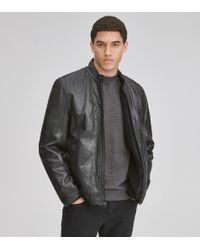 Andrew Marc - Cafe Racer Leather Moto Jacket - Lyst