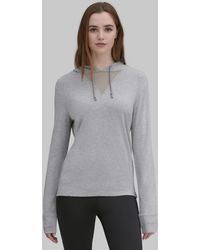 Andrew Marc - Long Sleeve Hooded Tee With Mesh Inset - Lyst