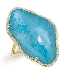 Anne Sisteron - 14kt Yellow Gold Blue Apatite Nuage Diamond Ring - Lyst