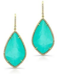Anne Sisteron | 14kt Yellow Gold Turquoise Diamond Rose Cut Earrings | Lyst