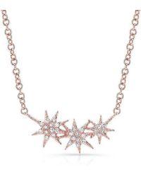 Anne Sisteron - 14kt Rose Gold Diamond Triple Starburst Necklace - Lyst