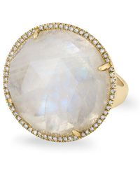 Anne Sisteron - 14kt Yellow Gold Moonstone Diamond Round Cocktail Ring - Lyst