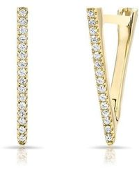 Anne Sisteron - 14kt Yellow Gold Diamond Triangle Bar Huggie Earrings - Lyst