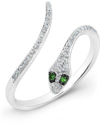 Anne Sisteron - 14kt White Gold Diamond Slytherin Ring With Emerald Eyes - Lyst