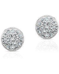Anne Sisteron - 14kt White Gold Diamond Rounded Mini Disc Stud Earrings - Lyst