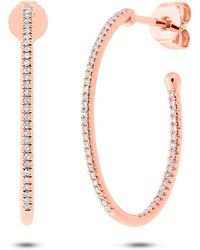 Anne Sisteron - 14kt Rose Gold Diamond Oval Small Hoop Earrings - Lyst