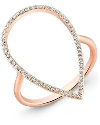 Anne Sisteron - 14kt Rose Gold Diamond Open Pear Ring - Lyst