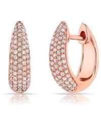 Anne Sisteron - 14kt Rose Gold Diamond Bold Huggie Earrings - Lyst