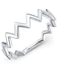Anne Sisteron - 14kt White Gold Zig Zag Stacking Ring - Lyst