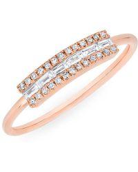 Anne Sisteron - 14kt Rose Gold Diamond Baguette Curved Bar Delilah Ring - Lyst