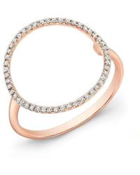 Anne Sisteron - 14kt Rose Gold Diamond Open Circle Diamond Ring - Lyst