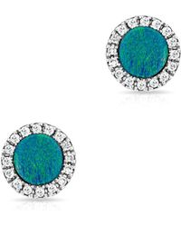 Anne Sisteron - 14kt White Gold Opal Diamond Round Stud Earrings - Lyst