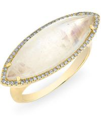 Anne Sisteron - 14kt Yellow Gold Diamond Moonstone Marquis Ring - Lyst