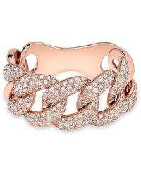 Anne Sisteron - 14kt Rose Gold Luxe Light Diamond Chain Link Ring - Lyst