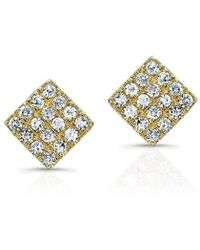 Anne Sisteron - 14kt Yellow Gold Diamond Mini Square Stud Earrings - Lyst