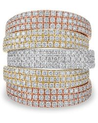Anne Sisteron - 14kt Rose And Yellow And White Gold Diamond Natalia Multi Band Ring - Lyst