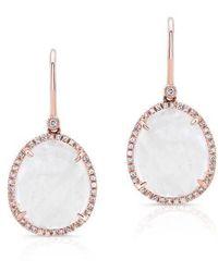 Anne Sisteron - 14kt Rose Gold Diamond Moonstone Organic Earrings - Lyst