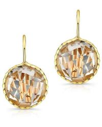 Anne Sisteron - 14kt Yellow Gold White Topaz Round Earrings - Lyst