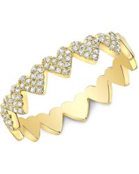 Anne Sisteron - 14kt Yellow Gold Diamond Hearts Ring - Lyst