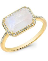 Anne Sisteron | 14kt Yellow Gold Moonstone Diamond Chic Ring | Lyst