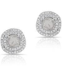 Anne Sisteron - 14kt White Gold Diamond Slice Double Halo Stud Earrings - Lyst