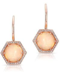 Anne Sisteron | 14kt Rose Gold Opal Diamond Hexagon Wireback Earrings | Lyst