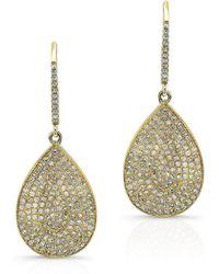Anne Sisteron - 14kt Yellow Gold Diamond Medium Pear Shaped Earrings - Lyst