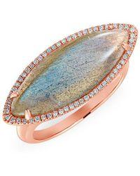 Anne Sisteron - 14kt Rose Gold Labradorite Diamond Marquis Ring - Lyst
