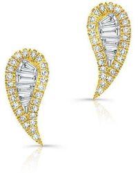 Anne Sisteron | 14kt Yellow Gold Baguette Diamond Paisley Stud Earrings | Lyst