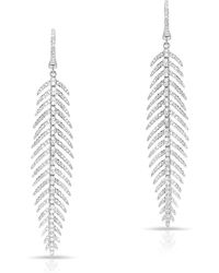 Anne Sisteron - 14kt White Gold Diamond Feather Earrings - Lyst