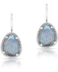 Anne Sisteron - 14kt White Gold Labradorite Diamond Organic Shape Earrings - Lyst