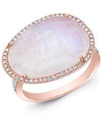 Anne Sisteron - 14kt Rose Gold Organic Moonstone Cocktail Diamond Ring - Lyst