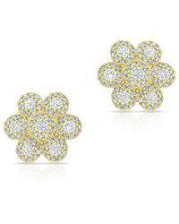 Anne Sisteron - 14kt Yellow Gold Diamond Abigail Flower Earrings - Lyst